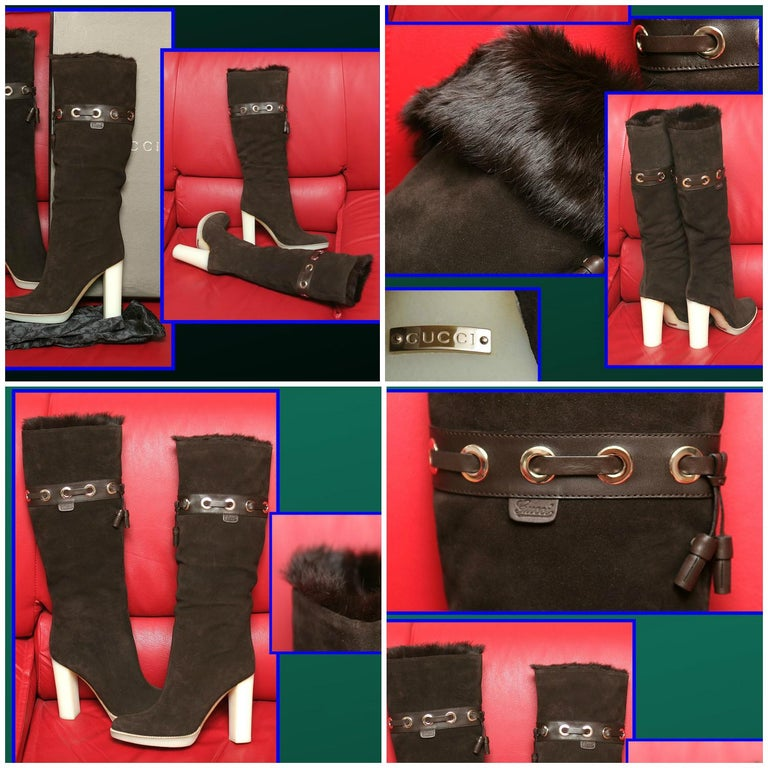 Tom Ford for Gucci Mink Suede Ad Boots Sz 10.5 In Excellent Condition For Sale In Leesburg, VA