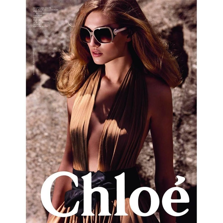 Chloe Coveted Sunglasses   Brand New * Stunning Silver Beige Frames * Brushed Stainless Hardware * Seen on Many Stars * Chloe Details on Temples * Made in France * 100% UVA/UVB Protection * Comes with Box, Case, Cleaning Clothing & Authenticity Cards
