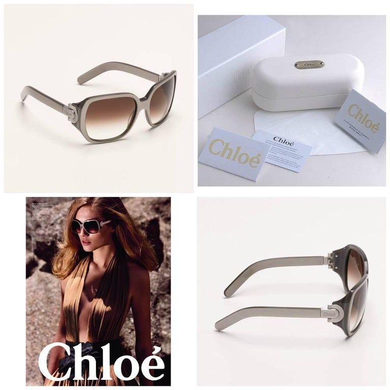 Brown New Chloe Silver Beige Sunglasses With Case & Box For Sale