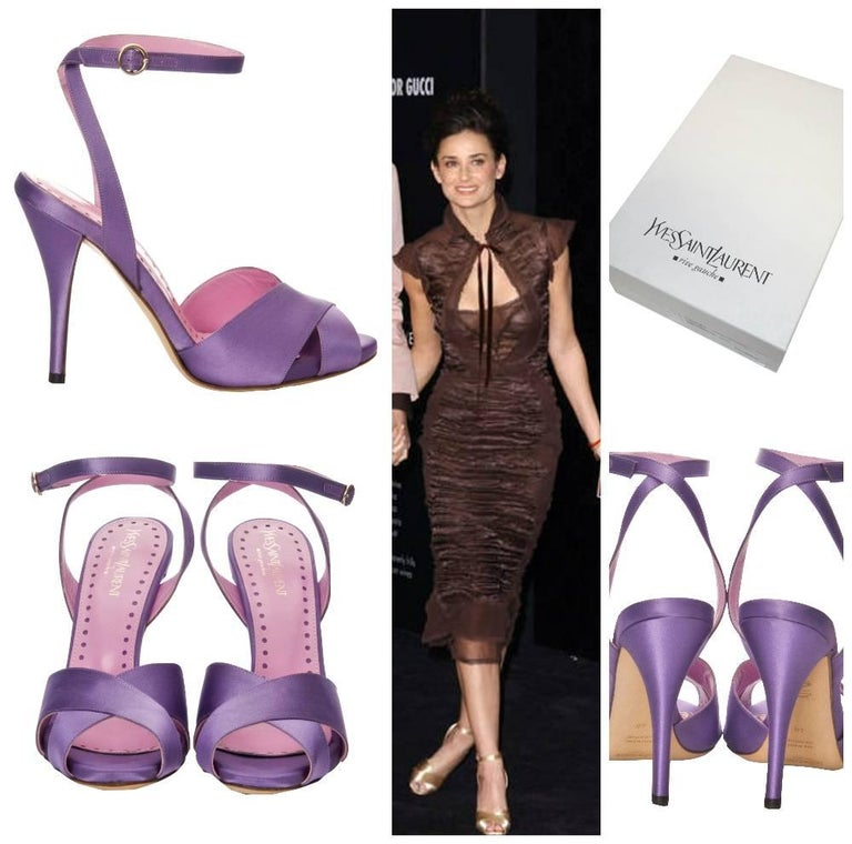 Tom Ford for Yves Saint Laurent Heels Brand New * Tom Ford's Final Collection for Yves Saint Laurent Size: 38 * Stunning Lilac Satin * Criss Cross Toe   * Leather Footbed * Adjustable Ankle Strap * Gold Hardware * 4.25