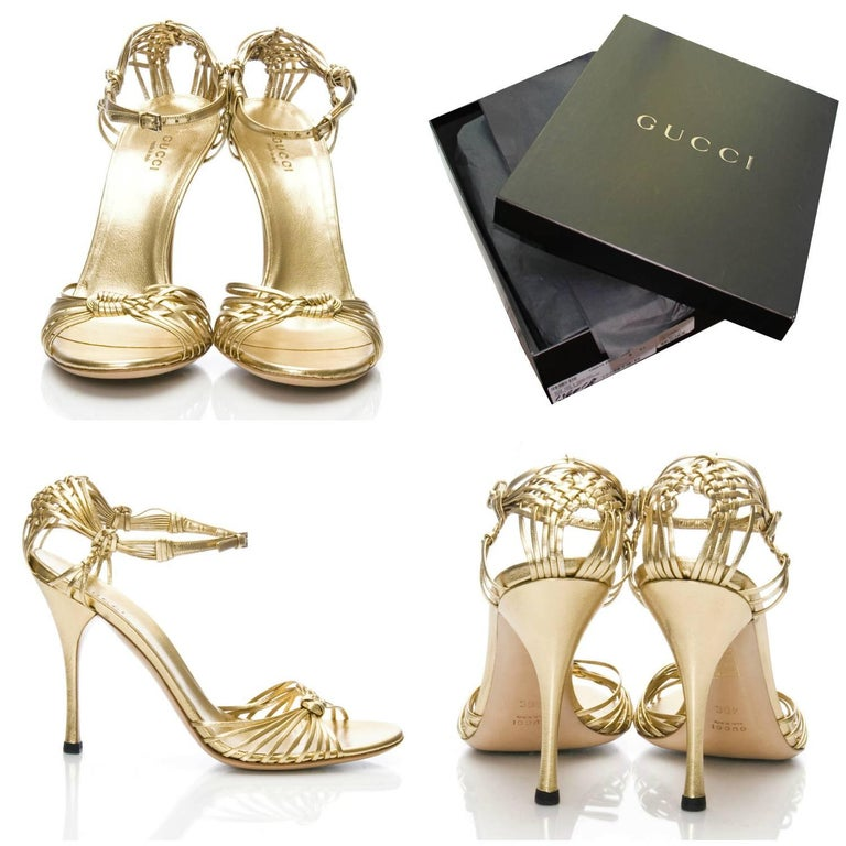 New Gucci Gold Leather Ad Runway Heel Sz Euro 40 In New Condition For Sale In Leesburg, VA