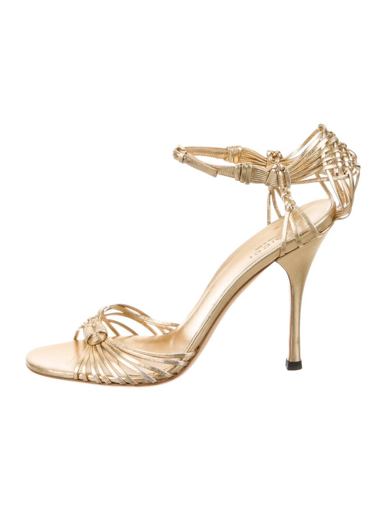 New Gucci Gold Leather Ad Runway Heel Sz Euro 40 For Sale 2