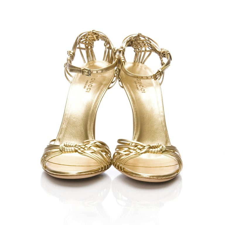 New Gucci Gold Leather Ad Runway Heel Sz Euro 40 For Sale 3