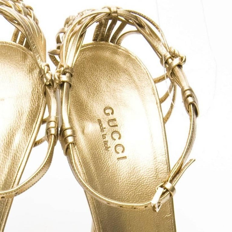 New Gucci Gold Leather Ad Runway Heel Sz Euro 40 For Sale 5