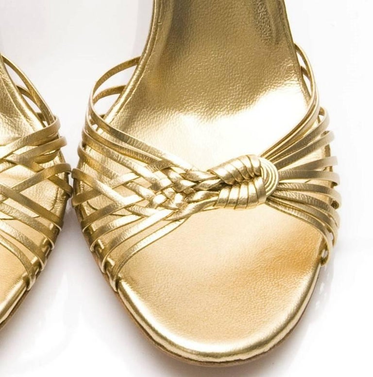 New Gucci Gold Leather Ad Runway Heel Sz Euro 40 For Sale 6