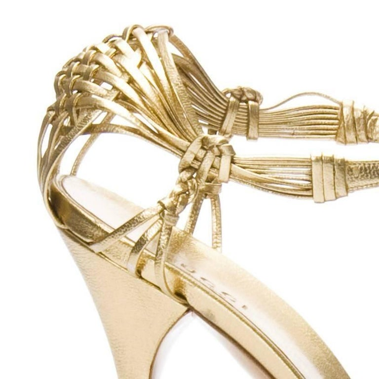 New Gucci Gold Leather Ad Runway Heel Sz Euro 40 For Sale 1