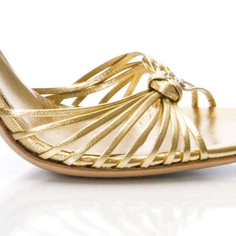 New Gucci Gold Leather Ad Runway Heel Sz Euro 40 For Sale 7