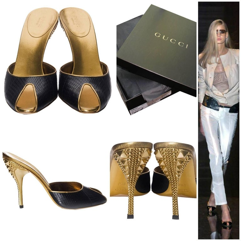 Gucci Horsebit Heels Brand New * Stunning in Black Snakeskin * Studded Gold Heel * Size: 9.5 * Leather Insole * Open toe * 4.5