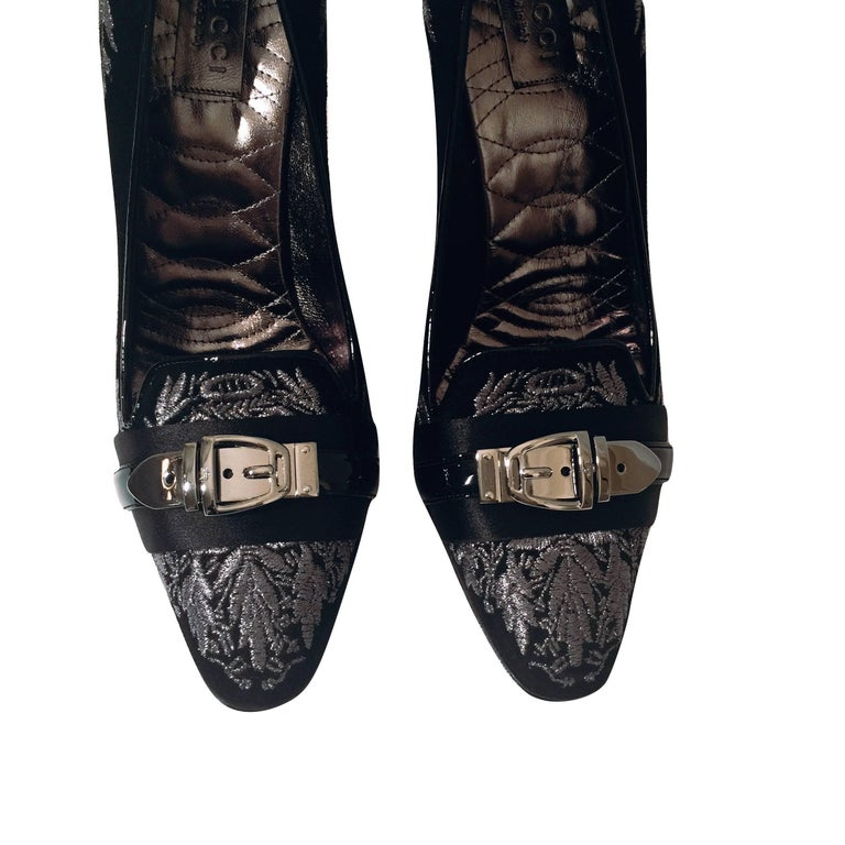 New Gucci Runway Suede Brocade Buckle Heels  For Sale 6