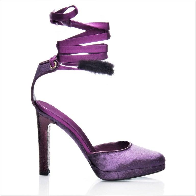 New Tom Ford For Gucci Mink Python Velvet Satin Final Collection Heels Sz 6.5  For Sale 14