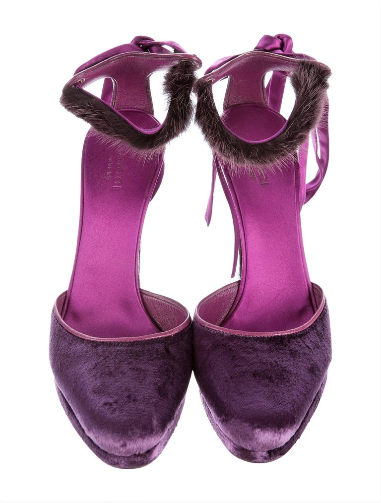 New Tom Ford For Gucci Farewell Collection Mink Python Velvet Heels Sz 7 For Sale 1