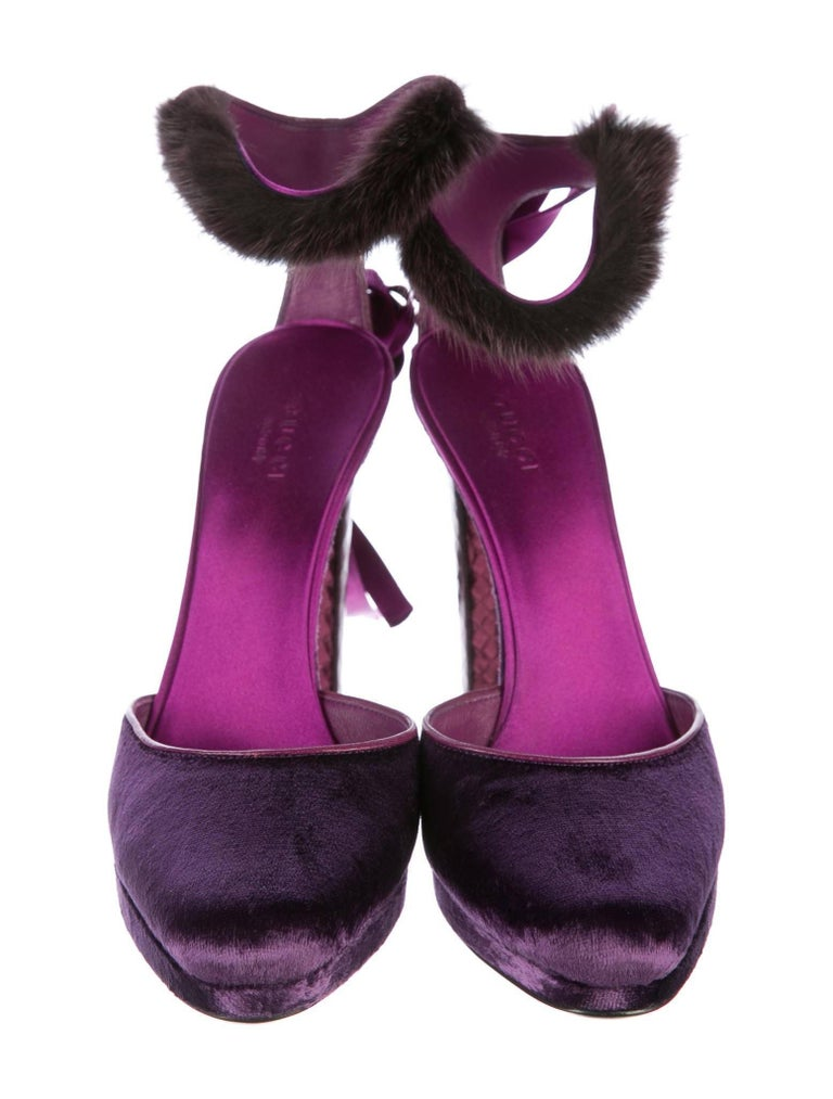 New Tom Ford For Gucci Farewell Collection Mink Python Velvet Heels Sz 7 For Sale 11