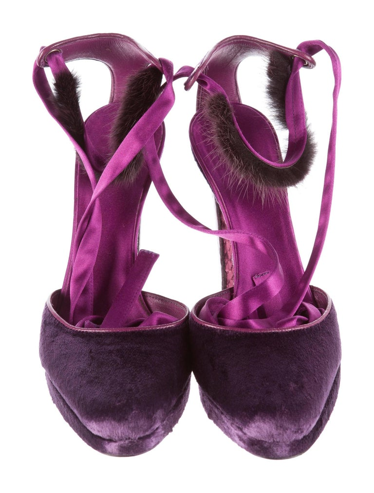 New Tom Ford For Gucci Farewell Collection Mink Python Velvet Heels SZ 8.5 For Sale 5