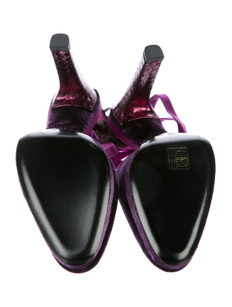 New Tom Ford For Gucci Farewell Collection Mink Python Velvet Heels SZ 8.5 For Sale 8