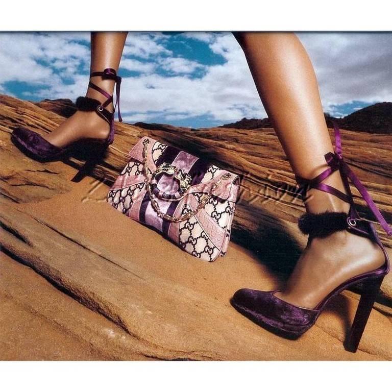 New Tom Ford For Gucci Mink Python Velvet 2004 Final Collection Heels Sz 9.5 For Sale 2