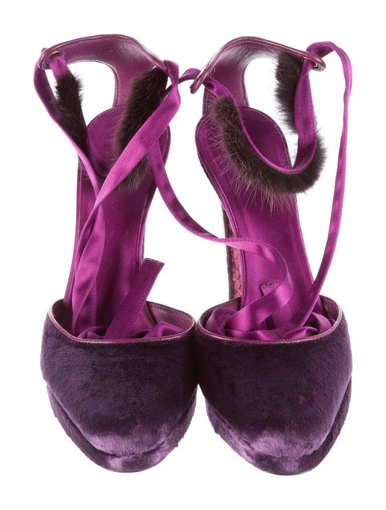 New Tom Ford For Gucci Mink Python Velvet 2004 Final Collection Heels Sz 9.5 For Sale 5