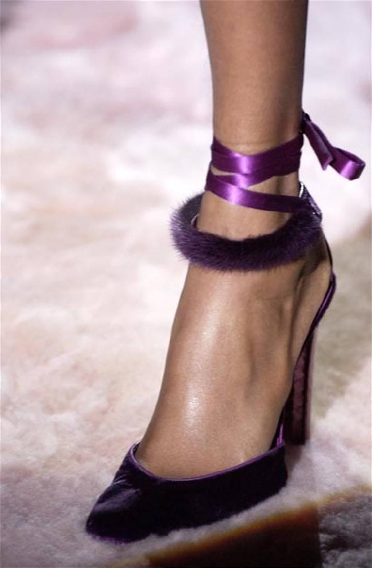 New Tom Ford For Gucci Mink Python Velvet 2004 Final Collection Heels Sz 9.5 For Sale 7