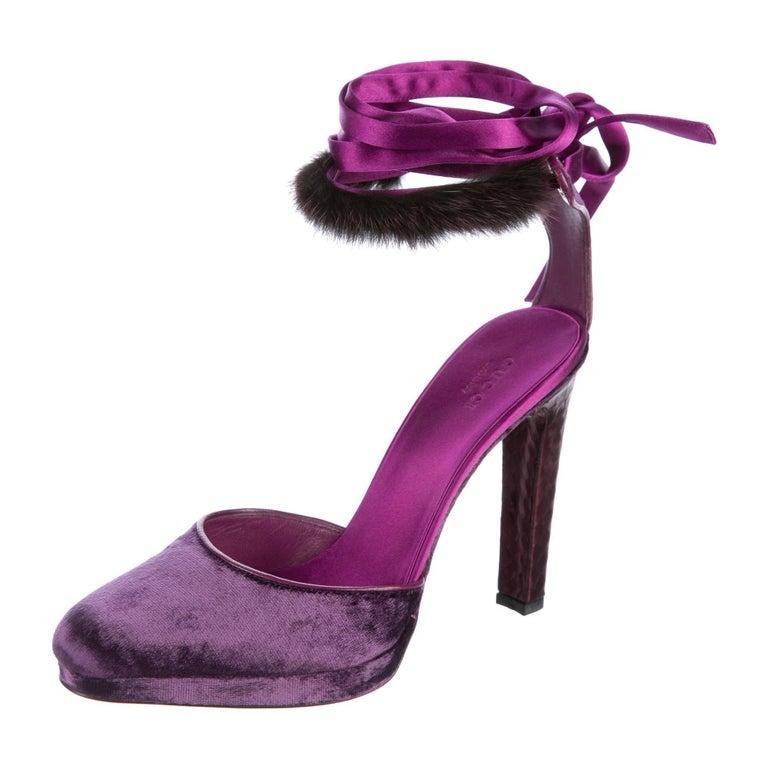 New Tom Ford For Gucci Mink Python Velvet 2004 Final Collection Heels Sz 9.5 For Sale 9