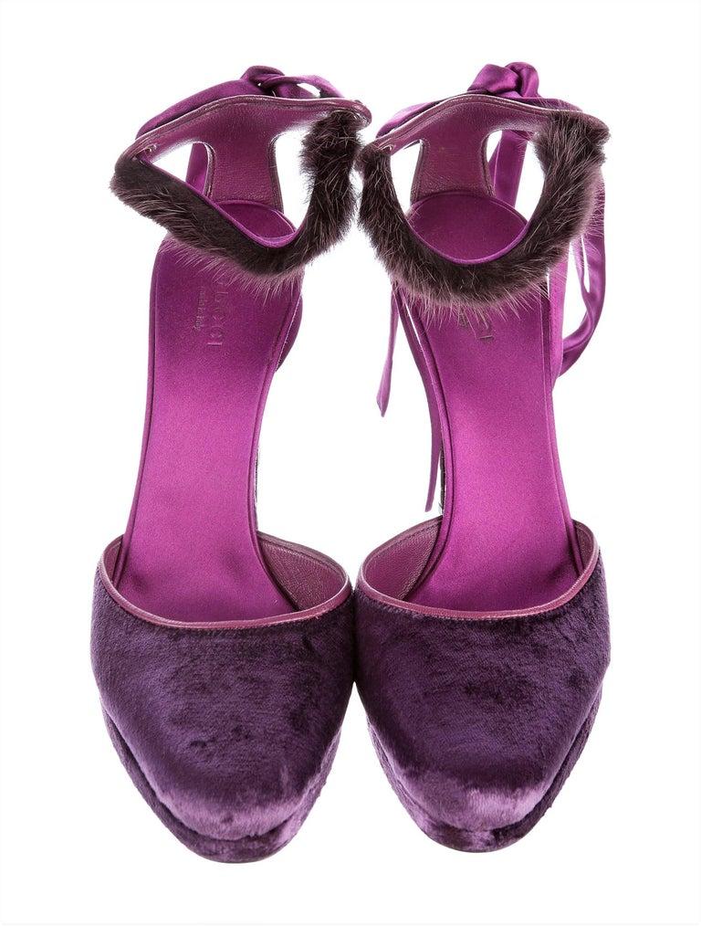 New Tom Ford For Gucci Mink Python Velvet 2004 Final Collection Heels Sz 9.5 For Sale 11