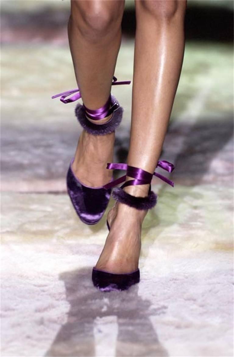 New Tom Ford For Gucci Mink Python Velvet 2004 Final Collection Heels Sz 9.5 For Sale 15