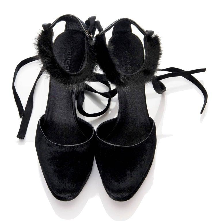 Black Tom Ford For Gucci New Mink Python Velvet Satin Final Collection Heels  For Sale