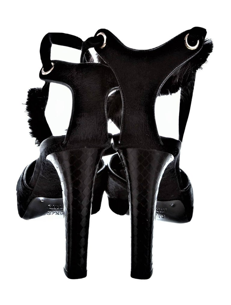 Tom Ford For Gucci New Mink Python Velvet Satin Final Collection Heels  For Sale 1