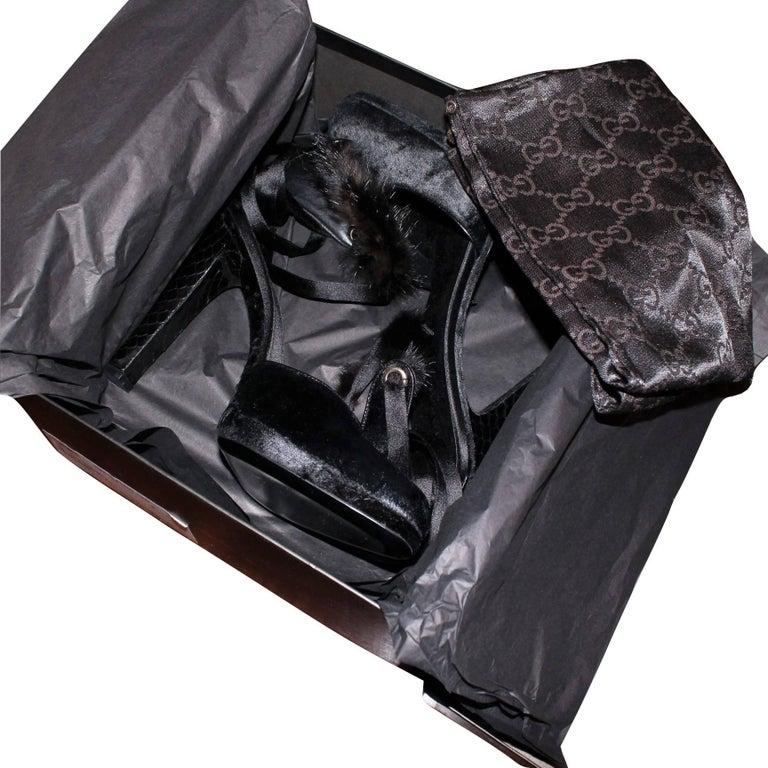 Tom Ford For Gucci New Mink Python Velvet Satin Final Collection Heels  For Sale 11