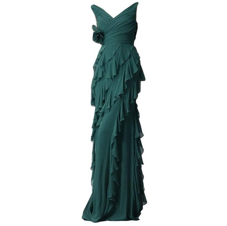 New Badgley Mischka Couture Evening Dress Gown Size 6 With Tags