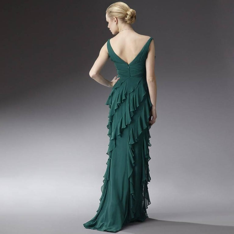 Black Badgley Mischka Couture Evening Dress Gown  For Sale