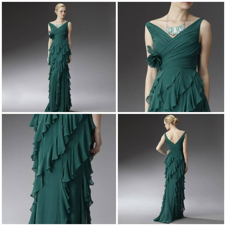 Badgley Mischka Couture Evening Dress Gown  In New Condition For Sale In Leesburg, VA
