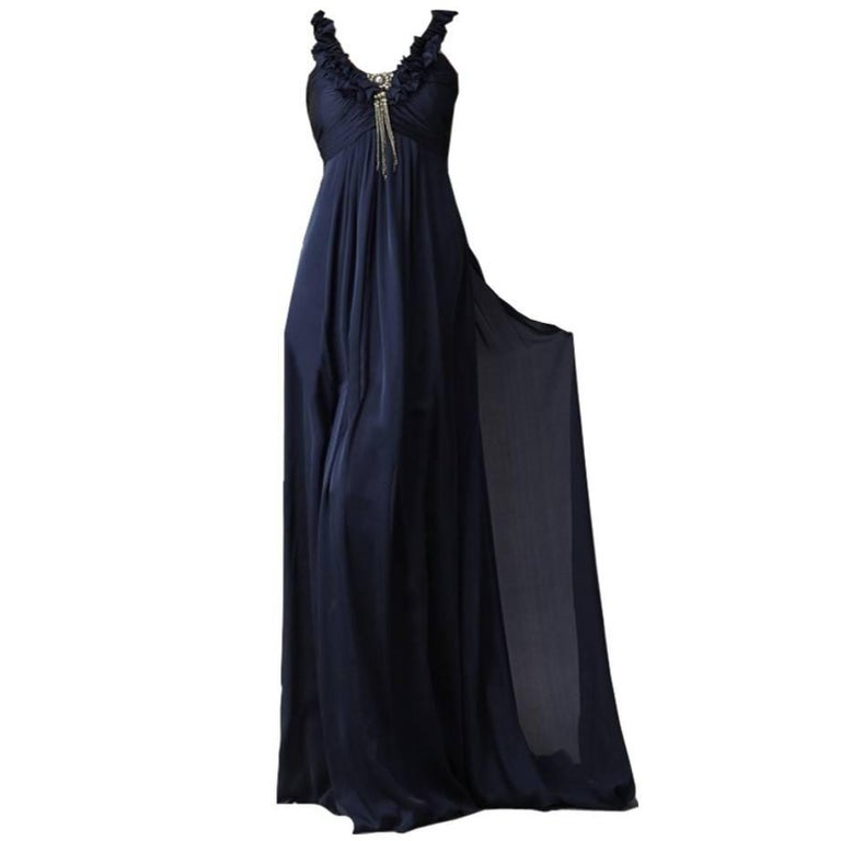 New Badgley Mischka Couture Silk Evening Dress Gown Size 6 With Tags