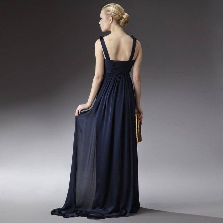 Black New Badgley Mischka Couture Silk Evening Dress Gown Sz 6 For Sale
