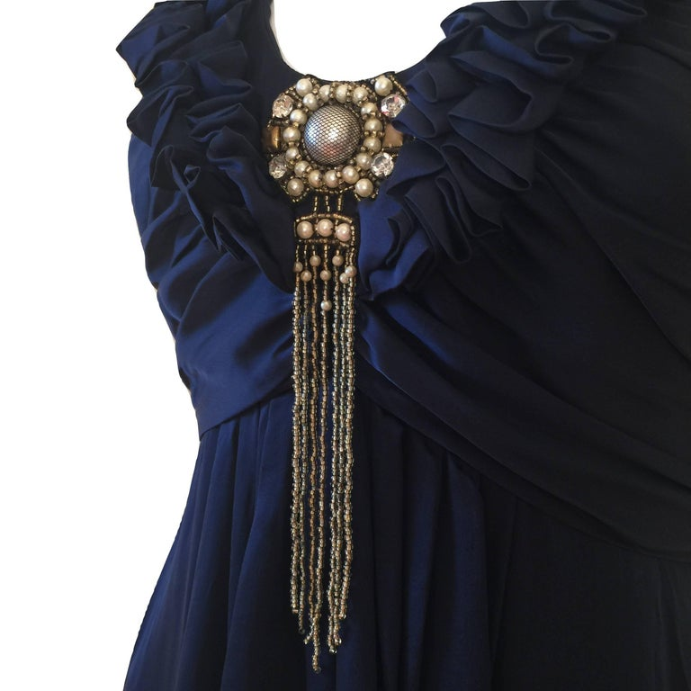 New Badgley Mischka Couture Silk Evening Dress Gown Sz 6 In New Condition For Sale In Leesburg, VA