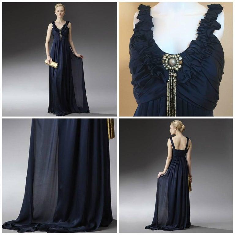 New Badgley Mischka Couture Silk Evening Dress Gown Sz 6 For Sale 1