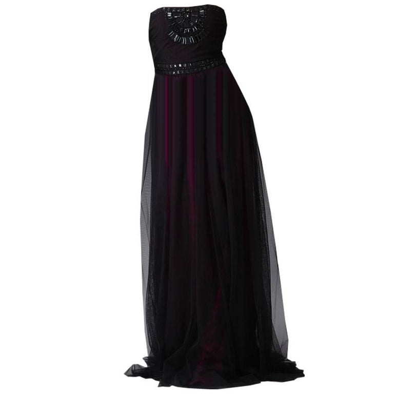 Badgley Mischka New Couture Beaded Evening Dress Gown  For Sale