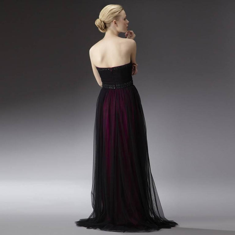 Black New Badgley Mischka Couture Beaded Evening Dress Gown  Sz 6 For Sale