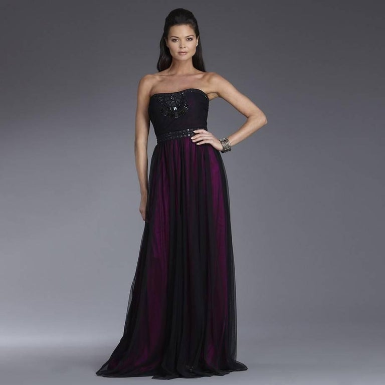 New Badgley Mischka Couture Beaded Evening Dress Gown  Sz 6 In New Condition For Sale In Leesburg, VA