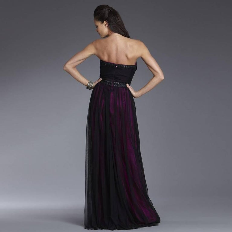 Women's New Badgley Mischka Couture Beaded Evening Dress Gown  Sz 6 For Sale