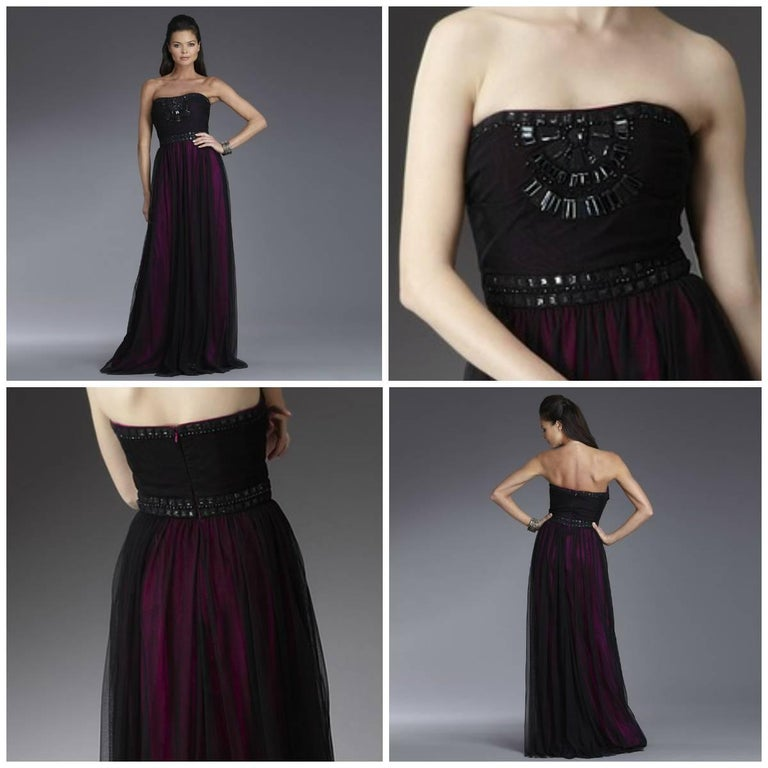 New Badgley Mischka Couture Beaded Evening Dress Gown  Sz 6 For Sale 1