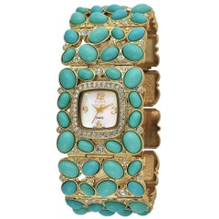 New Kenneth Jay Lane Turquoise Link Swarovski Crystal quartz Wristwatch