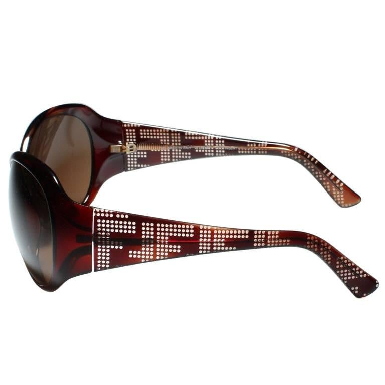 New Fendi Brown Wrap Logo Sunglasses With Case