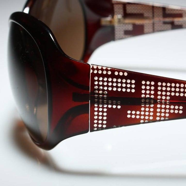 Black New Fendi Brown Wrap Logo Sunglasses With Case For Sale