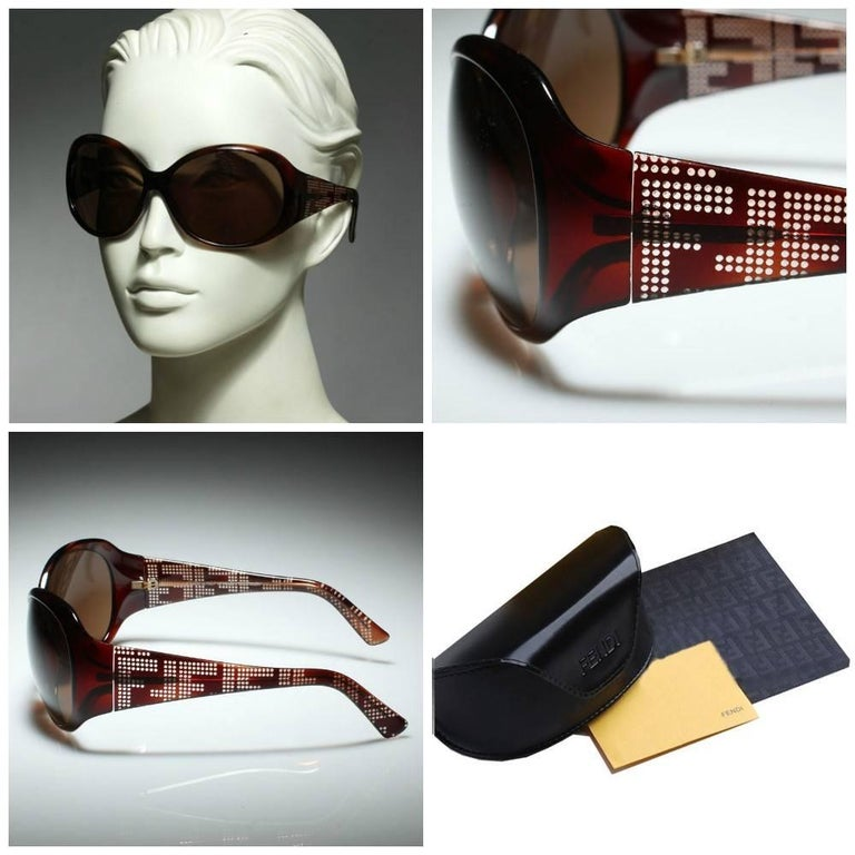 New Fendi Brown Wrap Logo Sunglasses With Case In New Condition For Sale In Leesburg, VA