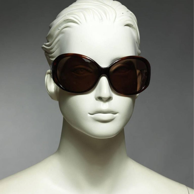 New Fendi Brown Wrap Logo Sunglasses With Case For Sale 1