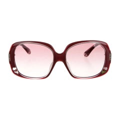New Fendi Deep Red with Rose Inlaid Sunglasses With Case