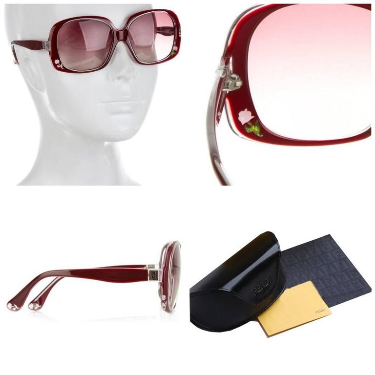 Fendi Rose Sunglasses Brand New *Stunning Inlaid Rose Sunglasses * Deep Red Front & Interior * Inlaid Rose Detail on the Front & Sides * Seen on MANY Stars * FF Details on Temples * Made in Italy * 100% UVA/UVB Protection * Comes with Case &