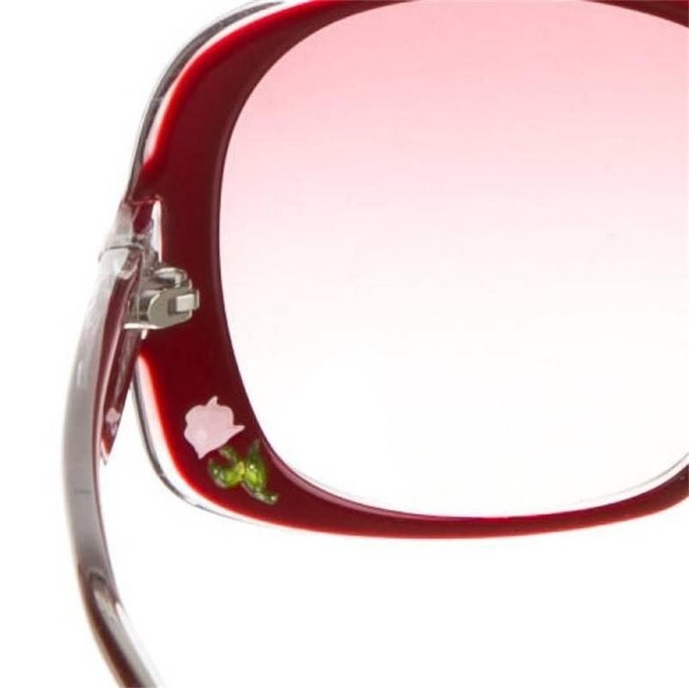 New Fendi Deep Red Rose Inlaid Sunglasses With Case For Sale 1
