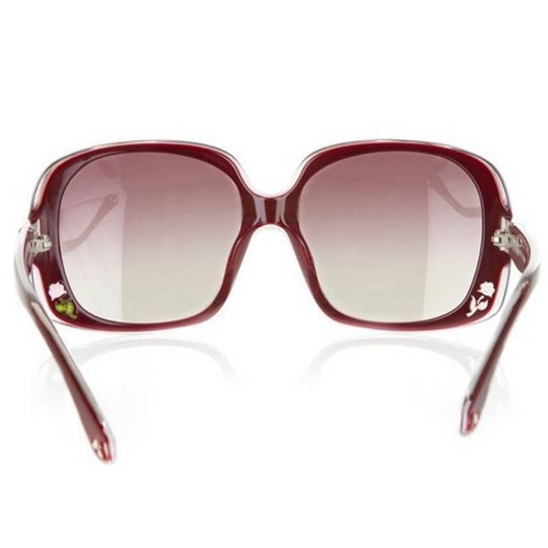 New Fendi Deep Red Rose Inlaid Sunglasses With Case For Sale 2
