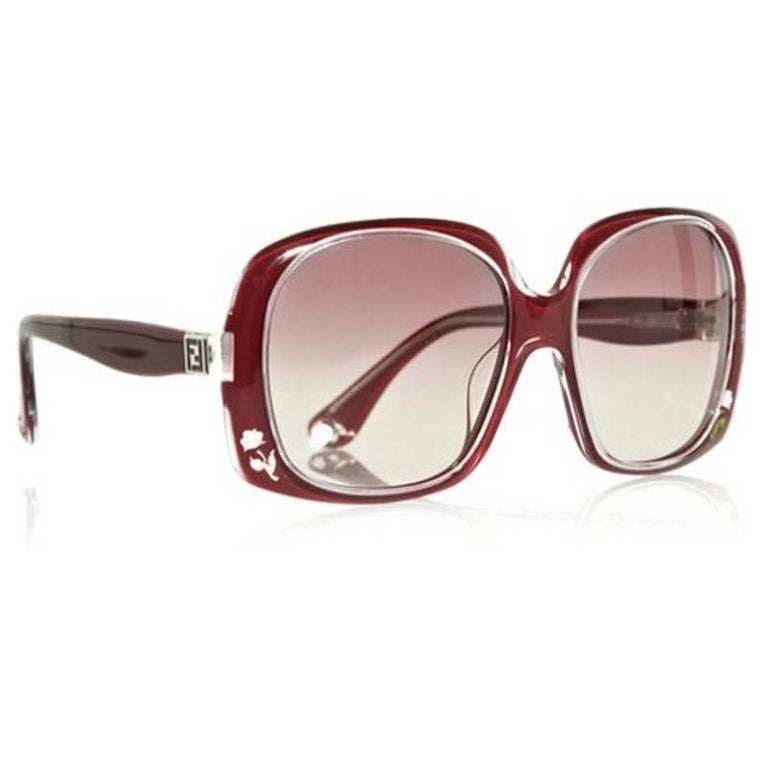 New Fendi Deep Red Rose Inlaid Sunglasses With Case For Sale 4