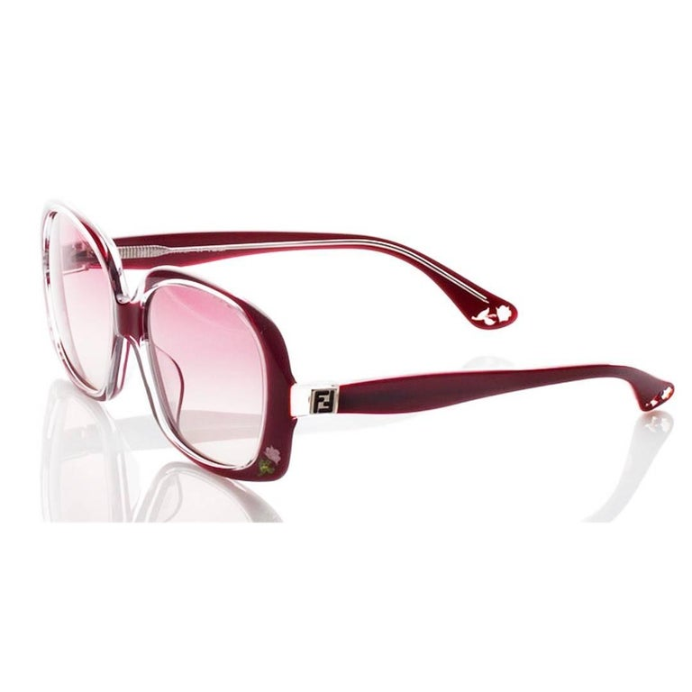 New Fendi Deep Red Rose Inlaid Sunglasses With Case For Sale 5